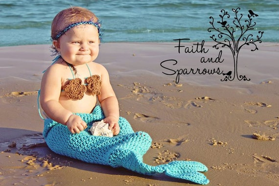 Baby Mermaid, Baby Girl Gift, Baby Gift, Beach, Ocean, Crochet, NEWBORN, Little Mermaid, Mermaid, Mermaid Tail, Photography Prop