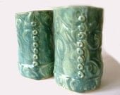 Hand Built Pair of Stoneware Tumblers Free Shipping
