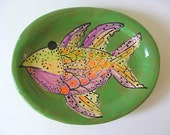 Stoneware Painted  Fish Platter Free Shipping