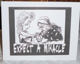 Black framed EXPECT A MIRACLE white letter accented cartoon of gypsy telling womans fortune Free Shipping