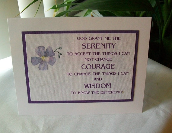 Spiritual 12 Step Recovery SERENITY PRAYER on print of watercolor Star Flower Greeting Card Free Shipping