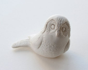 Hand Sculpted Endangered Bird Figure - Spotted Owl