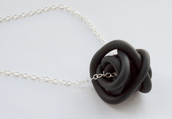 Black Medium Nest Like Necklace - Hand Sculpted Polymer Clay