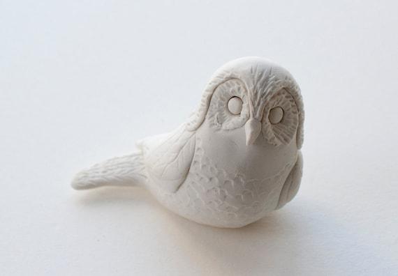 Hand Sculpted Endangered Bird Figure - Spotted Owl