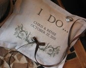 Wedding, Ring Bearer Pillows Personalized,  Custom Lettering, Flower Girl, Pillows, Inspirational, Autumn, Fall, French Country