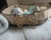 Farmhouse Basket, Baskets, Back To School, Bridal Shower Gift Basket, French Farmhouse Wire Basket, Spring Cleaning