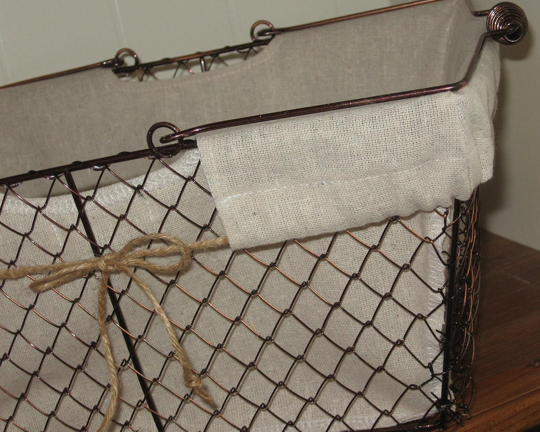 Farmhouse Wire Basket Mud Room Kitchen Bathroom Vintage