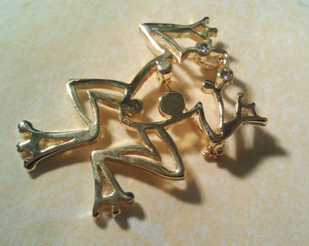 Gold / Golden Frog with Rhinestone Eyes  Pin / Brooch