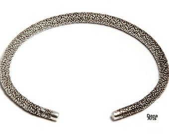 woven bangle bracelet - twisted silver