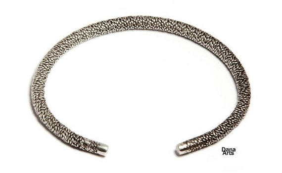 woven bangle bracelet - twisted silver