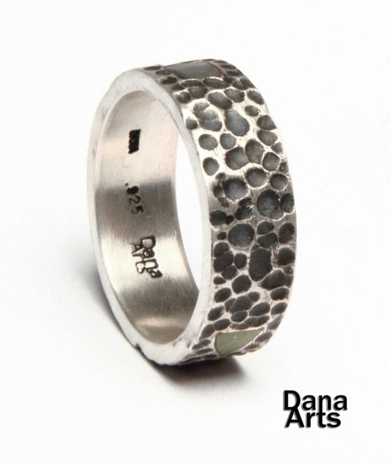 Hammered finish silver inlay shape ring
