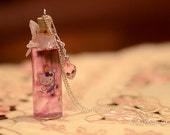Pink Hello Kitty Vial Bottle Necklace - Ribbon and Crystal