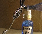 Alice in Wonderland - Blue Drink Me Vial with Skeleton Key