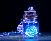 The Glowing Rose - Sky Blue Vial Necklace - Silver - BLACK LIGHT