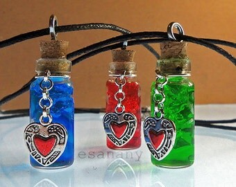 Legend of Zelda - Link's Health Potion - Red Potion Vial - Silver (also in blue and green)