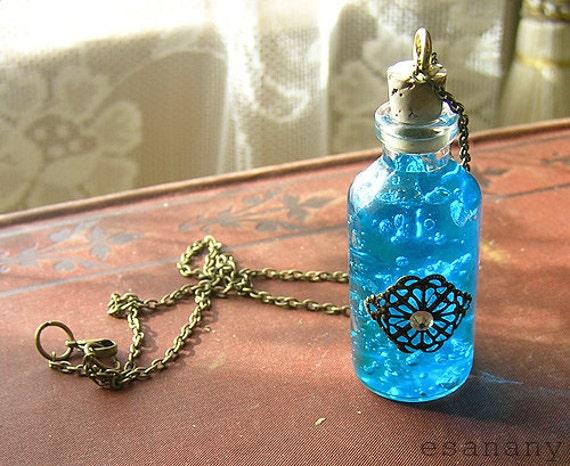 SALE: Royal Azure Blue - Glass Vial Necklace with Antique Filigree