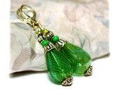 Spring Fashion lantern Earrings  fresh green with blue swirls Victorian Style long and very light handblown glass