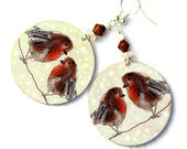 Winter Birds Earrings Robin lovebirds Round decoupage jewelry white snow burnt orange beige