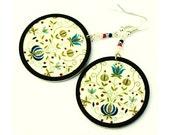 Polish folk Earrings motif  from Kaszebe region Floral delicate motif  Bohemian ethno style (16L)