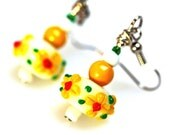 Artisan Lampwork glass Earrings  Yellow Flowers White spring fashion, Gift for her under 20