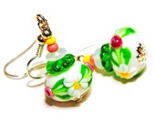 Artisan Lampwork glass Earrings Cute Flowers White spring fashion, Gift for her under 20