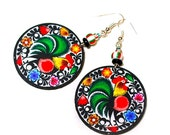 Colorful Folky Rooster polish folk motif Earrings  Round and Colorful boho hippie style (7L)