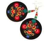 Folk Flowers polish folk art motif Earrings Round Symmetrical and Colorful black orange green (8L)