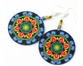 Folk Jewelry  polish folk art motif Earrings Round and Colorful black blue orange green (11L)
