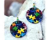 Puzzle Earrings colorful funky Round yellow navy blue green pink (6)