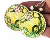 Romantic Pink Flowers Round decoupage jewelry Yellow  Green, (27)