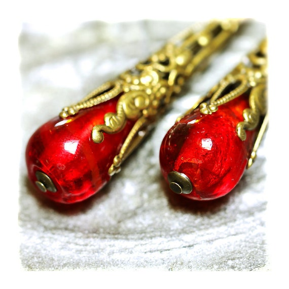 Red Victorian Style Earrings venetian glass Long Vivid Red Dangle,antique gold foil glass Vintage Inspired