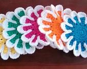 Flower Dish Cloth Set of 5 Rainbow