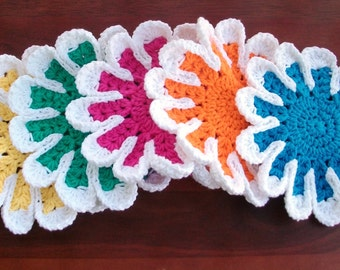 Flower Dish Cloth Set of 5 Rainbow