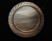 Vintage button, mother-of-pearl button, soft pearl gray, with pie crust rim. metal shank,   UNK/MOP 10 - 2.