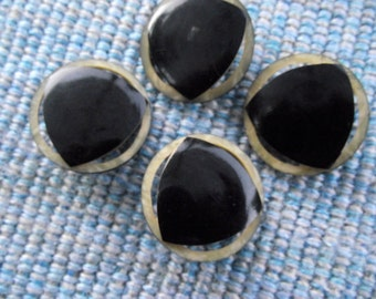 "Celluloid buttons, vintage, 4 measuring 1.30"" diameter, black trianglular design on circle of celluloid  PFM11.5-6."