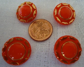 """4 Vintage glass buttons, just 1"""" ins across, red, set of 4, domed, crimped edge, gold luster round rim and touches on the edge.  PFM11.4-15."""