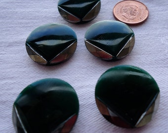 """Art Deco style, 5 green glass with silver luster flash  vee shaped design, 5 matching.  Almost 1"""" diameter. LD10.10-8."""