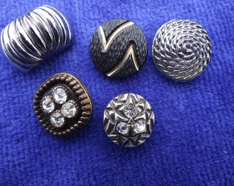 6 Vintage glass buttons (6th in photo5). Mixed styles, sizes, Rhinestone, gold,silver luster. PRICED for 6, may buy 1. UNKMIX11.6-12.2-5.1.