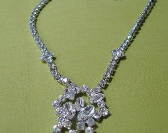 Vintage rhinestone necklace. STAMPED 'Jay Flex'. Various stones used. TROVAN12.2-9.2.