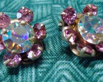 "1 Pair Vintage crystal  clip on earrings. 0.5"" ins across.  Aurora Boreallis.  PFM/GLITZ12.1-8.2."