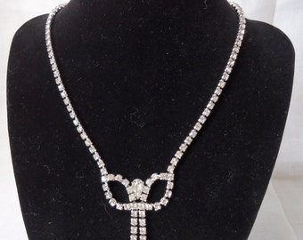 """vintage Austrian crystal.Tear drop central stone, rest matched squares.15"""" long without clasp. TROVAN12.3-30.4."""