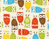 LAMINATED cotton fabric by the yard - Owls Urban Zoologie yardage Anne Kelle (aka slicker, oilcloth, coated) BPA free WIDE