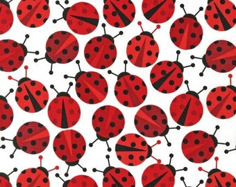LAMINATED cotton fabric (similar to oilcloth) by the yard - Red Ladybugs - Urban Zoologie remix - WIDE BPA free Approved for children