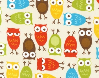 16 X 20 LAMINATED cotton fabric (similar to oilcloth) Urban Owls on cream - brown aqua lime orange remix - BPA free  - Approved for children