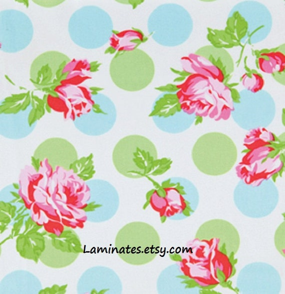 18 X 20 LAMINATED cotton fabric yardage (similar to oilcloth) - Falling Roses Blue Sugar Hill BPA free - Approved for children