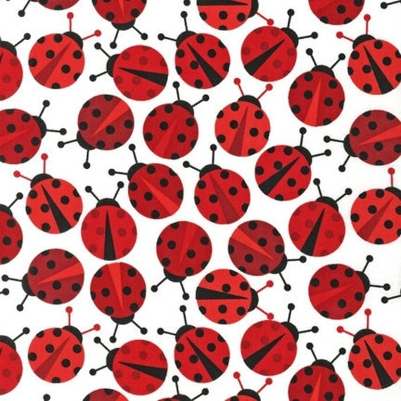 LAMINATED cotton fabric by the yard - Ladybugs Urban Zoologie Anne Kelle (aka oilcloth, slicker, coated) WIDE BPA free lady bugs ladybird