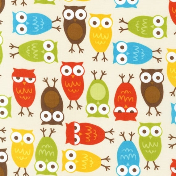 LAMINATED cotton fabric by the yard - Owls on cream - brown aqua lime orange - Urban Zoologie - BPA free - WIDE - Approved for children