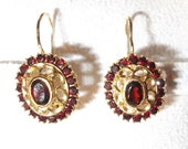 RESERVED for Sue // Vintage 18K Yellow Gold Filigree Garnet Earrings for Pierced Ears.