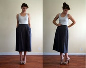 reserved / vintage 1970's wrap midi skirt / a line wool / leather buckle / medium large
