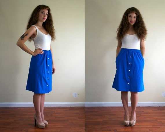 vintage 1980's skirt / a line blue with pockets / xl extra large